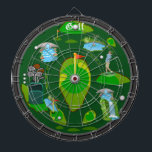 "Golf Water Hazzard Dartboard<br><div class=""desc"">An awesome golf inspired dartboard perfect for the golf or sports fan of the family. Features an array of golf targets and hazards. Great for traditional dart games, for making new ones of your own, or as a cool golf art display. Fully customizable to add names, images, and more to...</div>"
