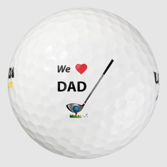 GOLF - We love Dad Fathers Day Birthday Gift Golf Balls