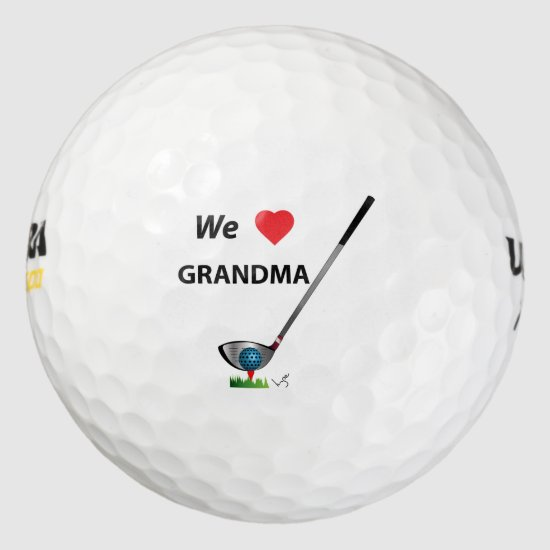 GOLF - We love Grandma Fathers Day Birthday Gift Golf Balls