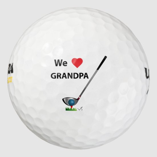 GOLF - We love Grandpa Fathers Day Birthday Gift Golf Balls