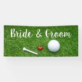 Golf wedding banner golf ball and love on green