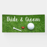 Golf wedding banner golf ball and love on green