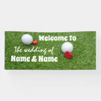 Golf Wedding Banner with golf ball and love heart