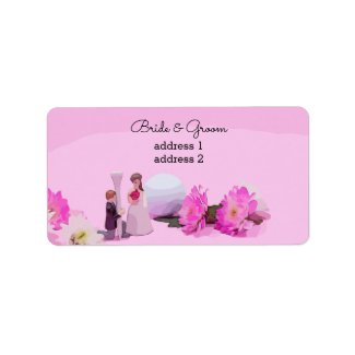Golf Wedding bride and groom with golf ball Gift Label