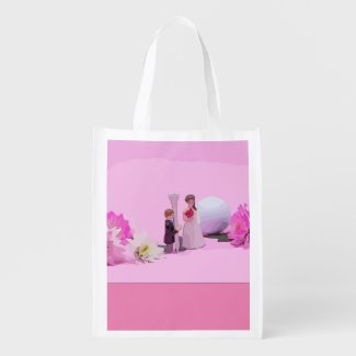Golf Wedding bride and groom with golf ball Grocery Bag