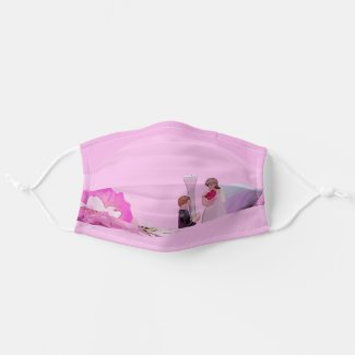 Golf Wedding bride and groom with golf ball pink Cloth Face Mask