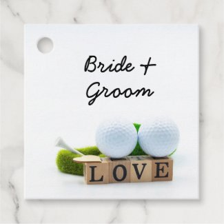 Golf wedding bride groom golf ball tee with love favor tags