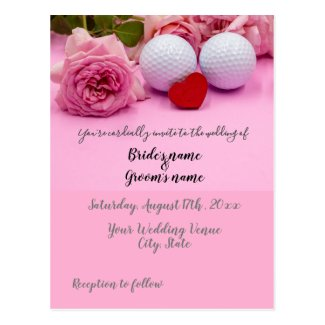 Golf Wedding card with golf ball and roses on pink