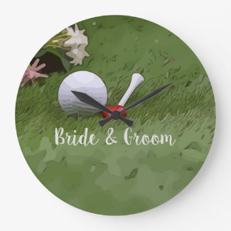 Golf Wedding gift golf ball and flower with love Large Clock