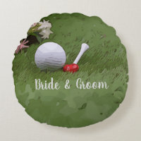 Golf Wedding gift golf ball and flower with love Round Pillow
