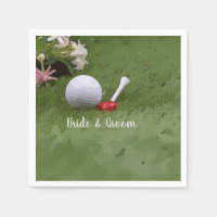 Golf Wedding golf ball and flower with love Napkin