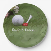 Golf Wedding golf ball and flower with love Paper Plate