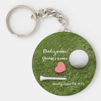 Golf Wedding golf ball and tee with love on green Keychain