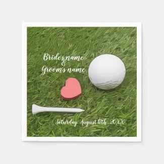 Golf Wedding golf ball and tee with love on green Napkins