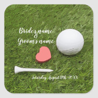 Golf Wedding golf ball and tee with love on green Square Sticker