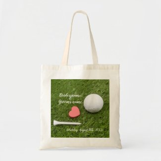Golf Wedding golf ball and tee with love on green Tote Bag