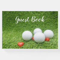 Golf wedding guest book with balls and hearts