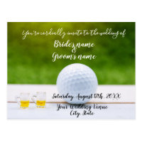 Golf Wedding Invitation card golf ball and beer
