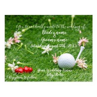 Golf Wedding Invitation card golf ball on green