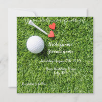 Golf Wedding Invitation card  golf bsll with love