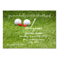Golf Wedding Invitation card with golf ball & love