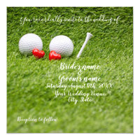 Golf Wedding Invitation card with two hearts