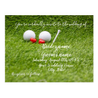 Golf Wedding Invitation card with two hearts on gr