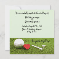 Golf wedding invitation golf ball with love