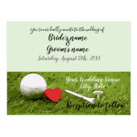 Golf wedding invitation golf ball with love postcard