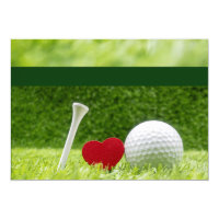Golf wedding  invitation with love and tee