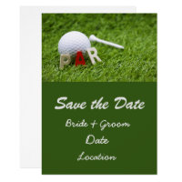 Golf Wedding save the date par to pair with ball Invitation