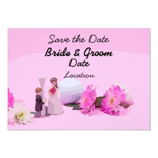 Golf Wedding Save the Date with bride and groom Invitation