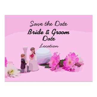 Golf Wedding Save the Date with bride and groom Postcard