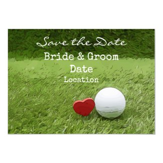 Golf Wedding save the date with love golfer Invitation