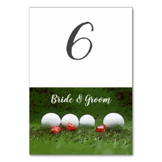 Golf Wedding table card with golf ball on green
