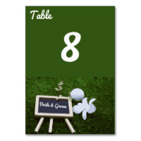 Golf Wedding table number  card with golf ball