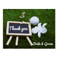 Golf Wedding Thank  you card white orchid on green