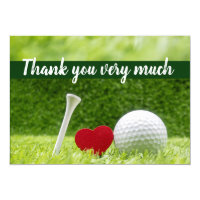 Golf wedding  Thank you card with love and tee