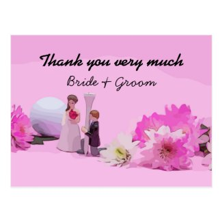 Golf Wedding Thank you  with bride and groom Postcard