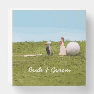Golf wedding with bride and groom golf ball tee wooden box sign