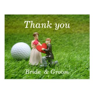 Golf wedding with bride and groom golfer with love postcard