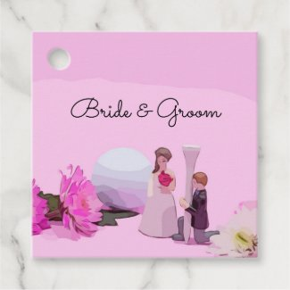 Golf Wedding with bride and groom with golf ball Favor Tags