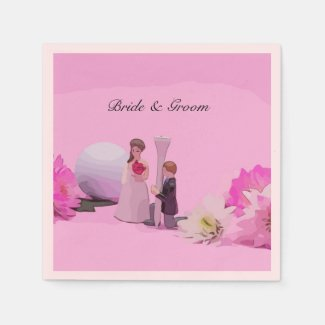 Golf Wedding with bride and groom with golf ball Napkins
