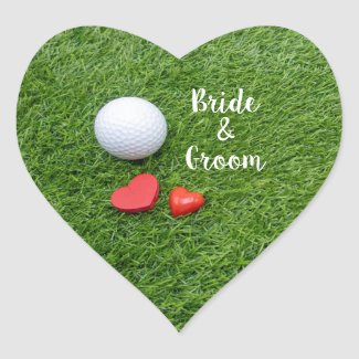 Golf Wedding with golf ball and love  on green Heart Sticker