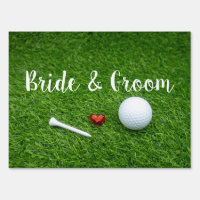 Golf wedding with golf ball and love on green sign
