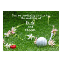 Golf wedding with golf ball and one heart on green invitation