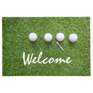 Golf welcome door mat golfer golf balls and tee