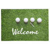 Golf welcome door mat golfer golf balls and tee