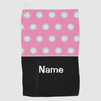 Golf white polka dots on pink  for woman golfer golf towel