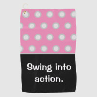 Golf white polka dots on pink  Swing into action. Golf Towel